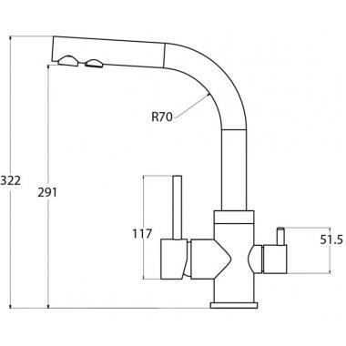 Кран Aquasanita Akvaduo 2663-202 Alumetallic