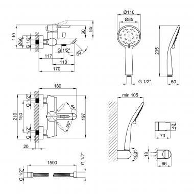 Смеситель для ванны Qtap Elit СRM 006 New