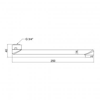 Излив для кухни Lidz (CRM) 54 02 250 00 250 мм