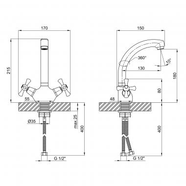 Смеситель для кухни Lidz (CRM) 75 21 271F-2