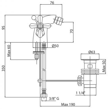 Смеситель для биде Bianchi Old Fashion BIDOLF1035OLFIACRM с донным клапаном