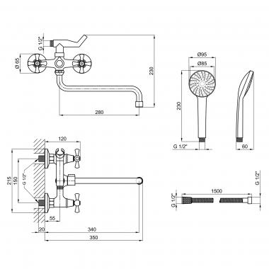 Смеситель для ванны Lidz (CRM) 75 21 140S New