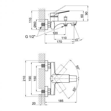 Смеситель для ванны Qtap Skalna 3026101DC