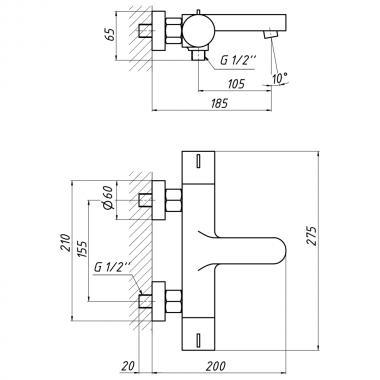 Смеситель термостатический для ванны Qtap Votice 30T105-1GC